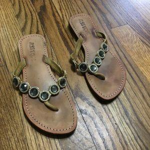 Mystique Boutique leather sandals embellished Sz 8